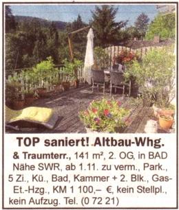 Terrassen-Anzeige