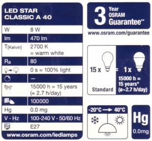 Osram LED Star Classic A 40 Label