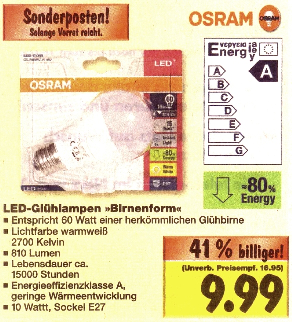osram classic a 60 led lampe f r knapp 10 euro bei kaufland fastvoice blog. Black Bedroom Furniture Sets. Home Design Ideas