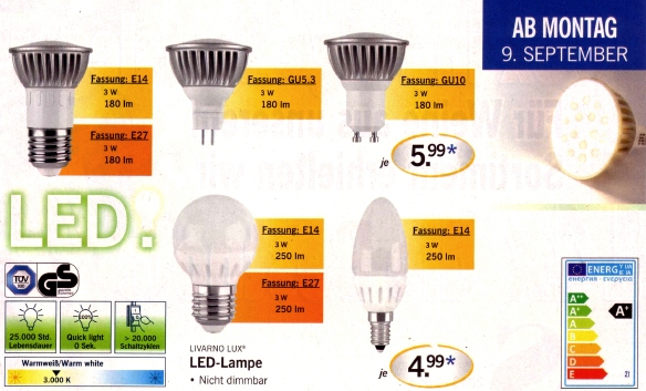 3 watt led lampen bei lidl die effizienzwunder update 14 9 fastvoice blog. Black Bedroom Furniture Sets. Home Design Ideas