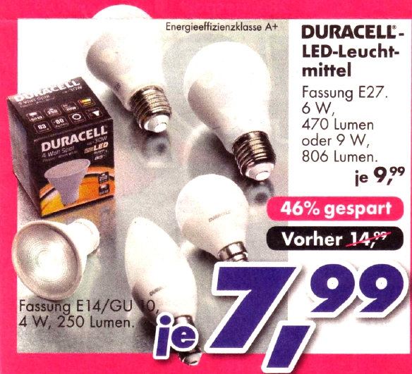 Bettenlager-Duracell-LED