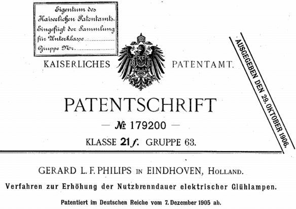 Philips-Patent 1905