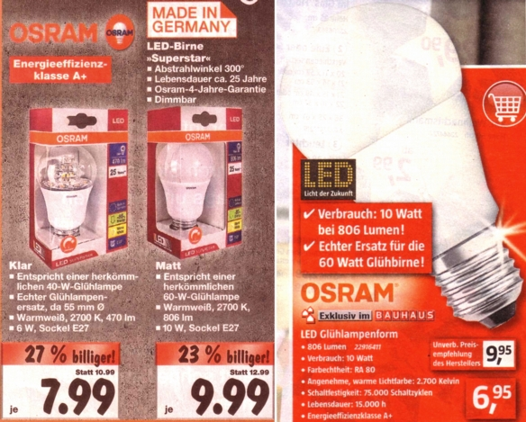 osram led lampen deals bei bauhaus und kaufland. Black Bedroom Furniture Sets. Home Design Ideas