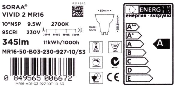 Soraa-GU10-Daten-Label