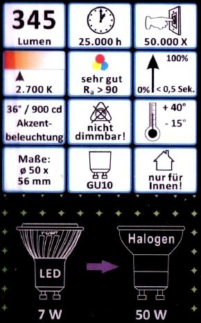 MeLiTec-GU10-7W-Daten