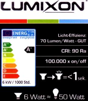 Lumixon-GU10-6W-Daten
