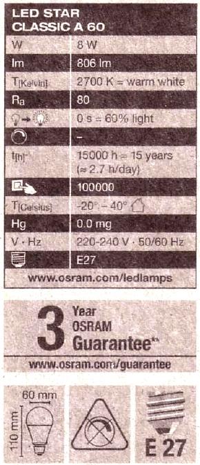 Osram-E27-8W-Daten