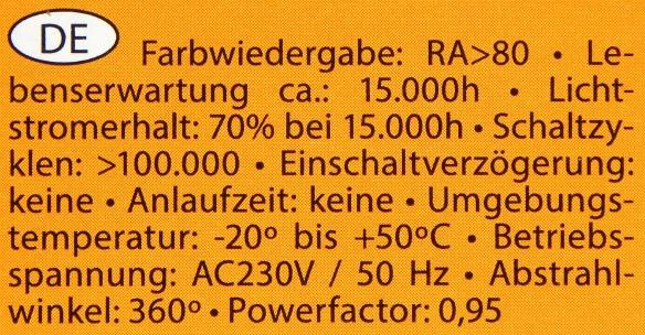 Arteko-E14-4,5W-Daten