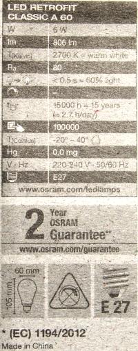 Osram-E27-Faden-6W-Daten