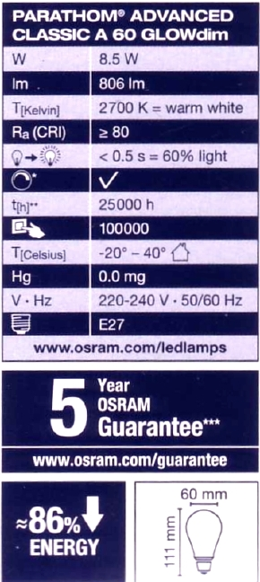 Osram-E27-GLOWdim-Daten