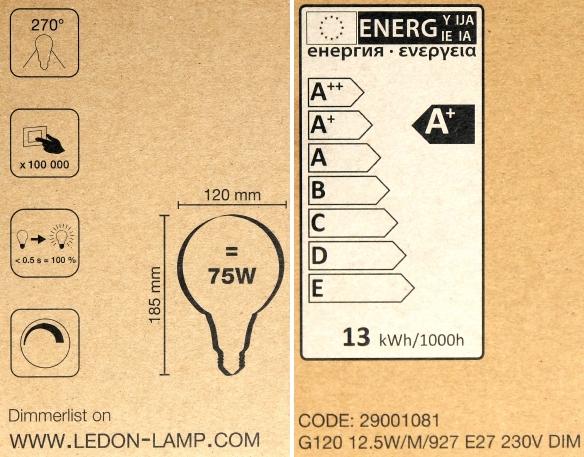 LEDON-E27-Globe-G120-Pack-Daten-Label